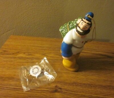 Vintage Popeye Colectibles Brutus Ornament & 100Th Anniversary Pin *free Ship*