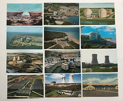 12  Dif. NUCLEAR POWER PLANTS ATOMIC ENERGY 1948-1980 Postcards GREAT GROUP!