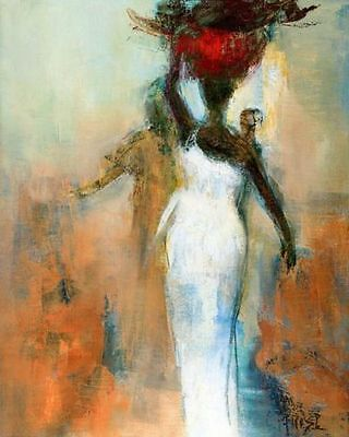 ZWPT354 vogue 100% hand-painted abstract africal girl art oil painting on canvas