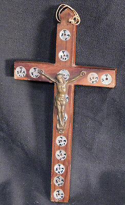Antique Carved Olive Wood Jerusalem Crucifix Stations Cross Inlay Mother o Pearl
