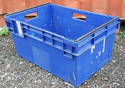 Paxton Large Heavy Duty Industrial Plastic Storage Crate Box Container Blue