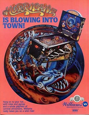 Hurricane Williams Pinball Flyer /Brochure/ Ad - Mint