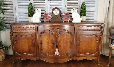 Antique French Country Louis XV Buffet Sideboard Server 4Door Carved Oak Shell