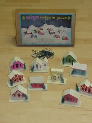 10  Antique Vintage Mica Lighted  Houses Churches Yuletide In Original Box Japan