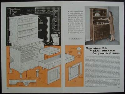 Welsh China Cupboard Dresser Hutch How-To build PLANS