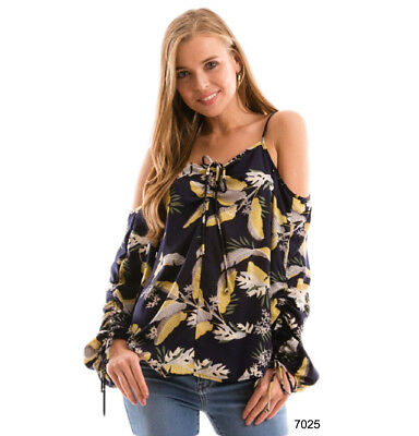 4766f6ff58e226 Hawaiian Floral Gypsy Blouse Navy Cold Shoulder Boho Top Vacation Cruise  Women