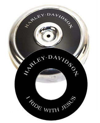 """Harley-Davidson I RIDE WITH JESUS 8"""" Round Air Cleaner Filter Cover Insert Decal"""