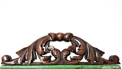GOTHIC SCROLL LEAVES PEDIMENT Antique french hand carved wood crest cornice c