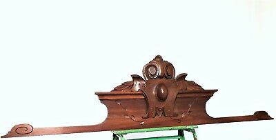 ARCHITECTURAL GOTHIC WOOD PEDIMENT Antique french coat of arms cornice crest