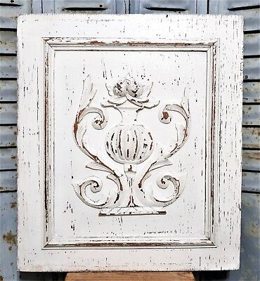 Gothic scroll leaves panel Antique french oak shabby painted salvaged paneling