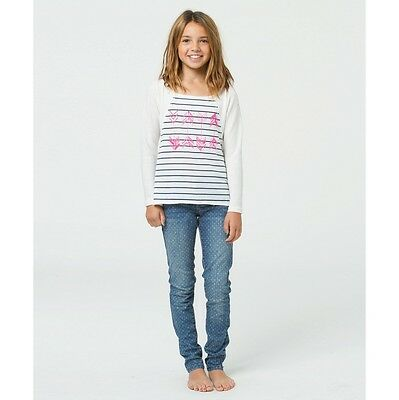 fbced75cd1095 2014 NWT GIRLS BILLABONG AT MY SIDE TOP  32 M cool whip navy blue stripes  arrow