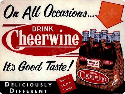 "DRINK CHEERWINE SODA  9"" x 12"" Sign"