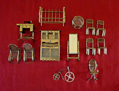 Lot of 13 Pieces of Vintage Brass Doll House Furniture