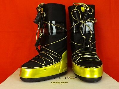 d5d3432a1e4d Jimmy Choo Yellow Black Fabric Leather Tall Moon Boots 35 36 37 38 Italy