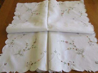 Pretty Vintage Embroidered Tablecloth - Tiny Floral Sprays With Cutwork Centres