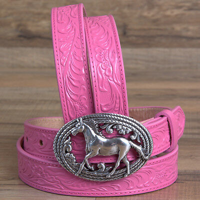 """V- 28"""" Justin Floral Ladies Lil Beauty Leather Belt Horse Run Silver Buckle Pink"""