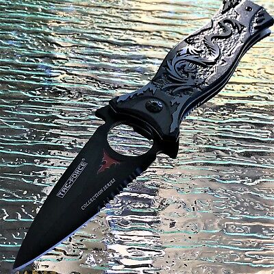 TAC FORCE GRAY DRAGON SPRING ASSISTED TACTICAL FOLDING KNIFE Blade Pocket Open
