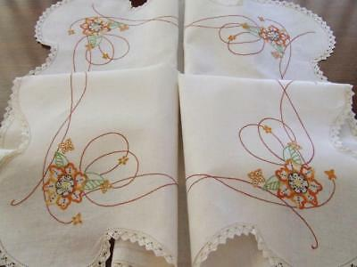 Beautiful Vintage Hand Embroidered Tablecloth - Orange Floral Pattern Lace Edge