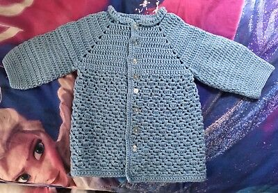 Vintage Girl's Light Blue Hand Knit 3/4 Sleeve Cardigan Sweater Small