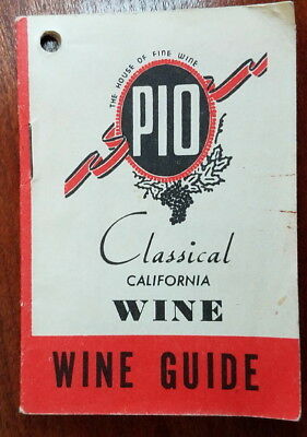 Vtg PIO Classical California Wine Guide pamphlet, bottle decal labels