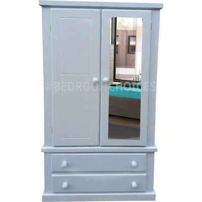 Handmade Kensington Gents Double Mirrored Wardrobe In White (Assembled)