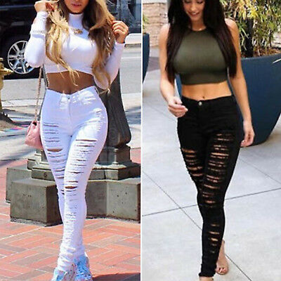 Women High Waisted Skinny Fit Jeans Ripped Stretchy Solid Denim Pants Leggings