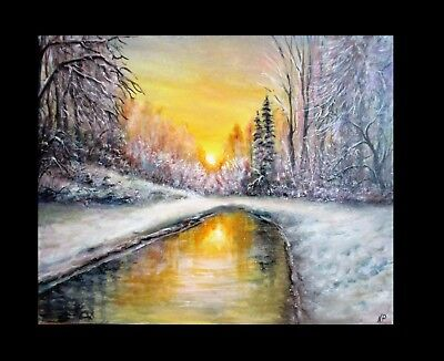 Original 20 x 16 Winter painting snow sunset Christmas lake landscape oil canvas