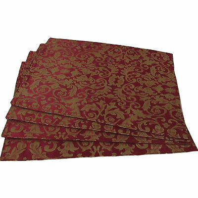 Set of 4 Damask Table Placemats in Ruby Red