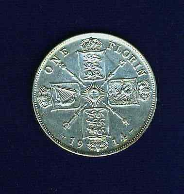 G.b./u.k./england  George V   1914  Florin  Coin,  Almost Uncirculated