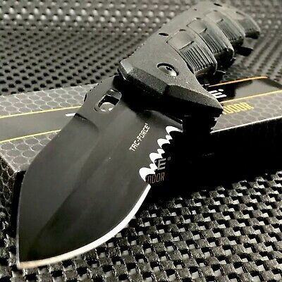 TAC FORCE SPRING ASSISTED TACTICAL BLACK RESCUE FOLDING KNIFE Pocket Open 8.75""