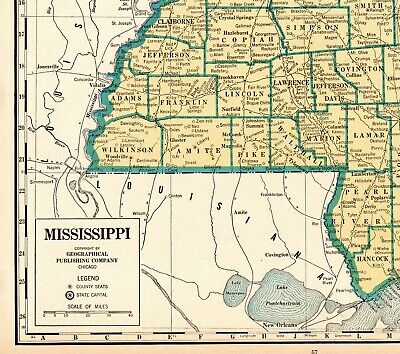 1944 Antique MISSISSIPPI State Map Rare Size Map of Mississippi Poster Size 6188