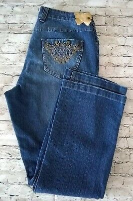 84912817aff Apollo Junior Womens Size 13 14 Blue Distressed Embellished Denim Jeans ~  AW14