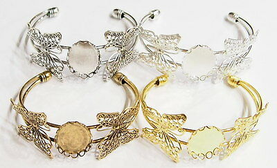 4 Colors of 25x18 mm Victorian Art Deco Two Butterfly Cuff Bracelet Settings