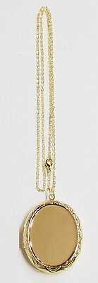 """40x30 mm Gold Victorian Style Etched Locket Pendant Setting with 24"""" Chain, Nice"""
