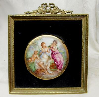 ANTIQUE FRENCH BRASS FRAME w  LIMOGES PORCELAIN PAINTED PLAQUE of CHERUB & WOMEN