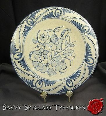Spain Portugal Pottery Blue & White Flowers Plate Tin Glazed Earthenware Delft