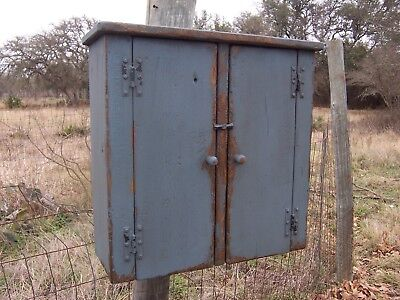 Primitive Bathroom Medicine Wall Hanging Cabinet Cupboard Painted Country Pine