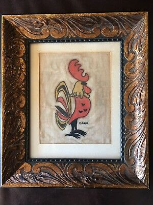 Vintage Batik Painting Cloth Rooster Carol Signed And Framed Gibson Museum Sale