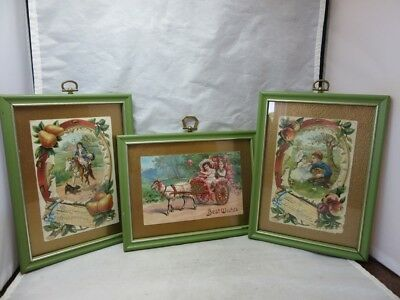 3 framed embossed Victorian greeting cards. Children