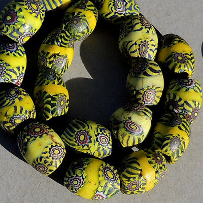 18 old antique venetian oval millefiori african trade beads #4770