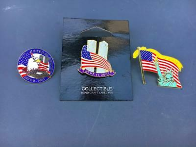 3 World Trade Center  9/11 Enamel Lapel Pins VTG WTC. Twin Towers Jewelry~.