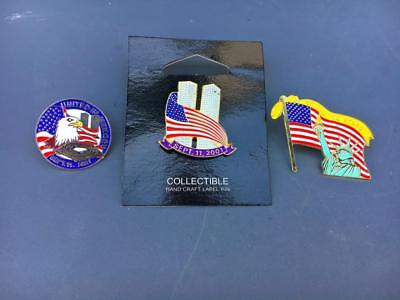 3 World Trade Center Pre 9/11 Enamel Lapel Pins VTG WTC Twin Towers Jewelry.911.