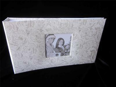 "Cloth Cover Photo Album/~EUROPEAN ROSE DESIGN.SILVER/HOLDS 60/ 5""X&7""~SKU113.--."