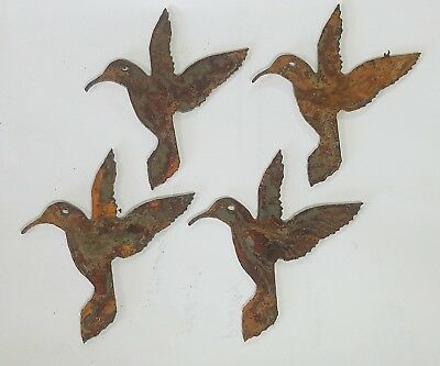 "Lot of 4 Hummingbird Bird Garden 4"" Rusty Metal Vintage Craft Sign Ornament DIY"