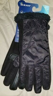 Isotoner Signature SmartDri SmarTouch Womens Knit Gloves One Size NWT  Black