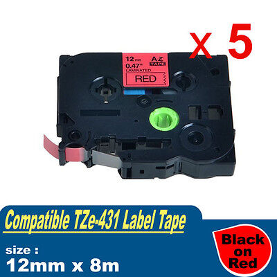 5x Compatible Brother TZE-431 P-Touch Label Tape TZ-431 12mm x 8m Black on Red