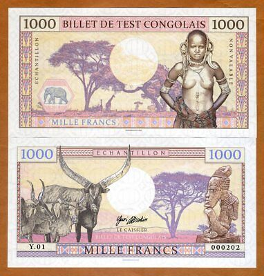 Congo, 1000 Francs, 2018, Private issue, Specimen, > African Tribal Nude