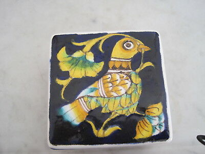 Vintage Italy Hand Painted Art Pottery Decorative Box Artist Signed Baudinelli