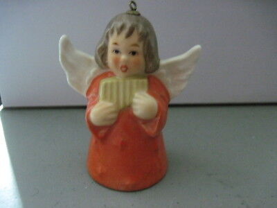 1983 Goebel ANGEL BELL ORNAMENT Orange With Reed Pipes