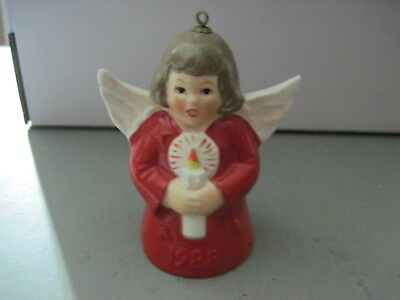 1988 Goebel ANGEL BELL ORNAMENT Red With Candle